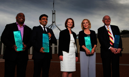 From left to right. Australia's Local Hero Shane Phillips Indigenous leader, Young Australian of the Year Akram Azimi Mentor, Australian of the Year Ita Buttrose AO OBE Media Icon, Senior Australian of the Year Prof. Ian Maddocks AM Palliative Care Specialist